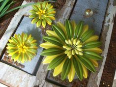 Gorgeous Vintage Green And Yellow Enamel Flower by VintageEnvy, $32.00