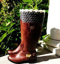 Crochet Boot Cuffs, Leg Warmers, Charcoal Gray, Cream, Choose Color, Chunky, Birthday Gifts for Her, Teens, Girls, Handmade, LEGJE407CUT