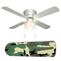 Turn boring ceing fan into Military Camo Camoflauge by using mod podge & scrapbook paper, fabric, hand-painting it, or spray paint for military - camo teen theme room!