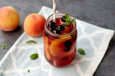 This sweet peach iced tea with blueberries has so much flavor and is a real show-stopper with all of the beautiful colors.  It's perfect for a sweet summer treat or a special drink when company comes over!
