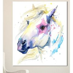Design Art 'Horse Illustration with Splash' Painting Print on Wrapped Canvas Size: H x W x D Watercolor Horse, Splash Watercolor, Diy Canvas Art, Canvas Canvas, Cotton Canvas, Canvas Fabric, Painting Prints, Canvas Prints, Horse Illustration