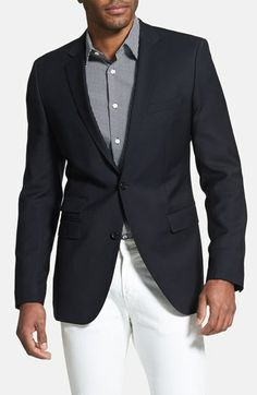 BOSS HUGO BOSS 'The Sweet' Trim Fit Blazer with white jeans and subtle check shirt.