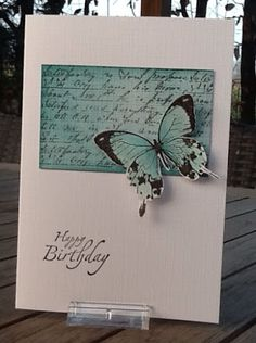 Collage/text block in matching colors. Would be a beautiful sympathy card as well. Handmade Birthday Cards, Happy Birthday Cards, Greeting Cards Handmade, Butterfly Cards Handmade, 9th Birthday, Stampin Up Karten, Stampin Up Cards, Tarjetas Pop Up, Card Making Techniques