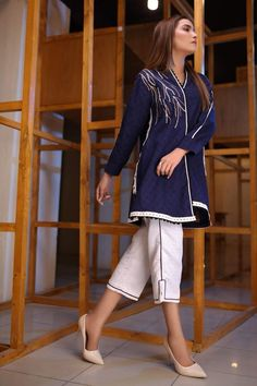 Beautiful gown with short trouser Beautiful Pakistani Dresses, Pakistani Dresses Casual, Pakistani Dress Design, Stylish Dress Designs, Dress Neck Designs, Blouse Designs, Frock Fashion, Fashion Pants, Fashion Dresses
