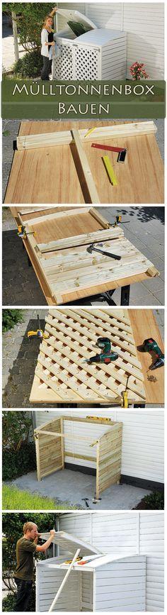 Ob grau, gelb, grün oder braun – Mülltonnen sind nicht schön. Eine Mülltonnenbox versteckt die hässlichen Tonnen. Wir zeigen dir detalliert, wie du die weiße Box aus Holz bauen kannst.