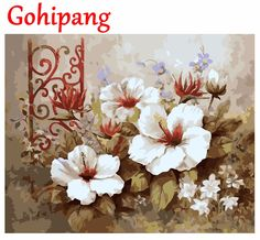 Fashion New Home Wall Artworks DIY Oil Painting By Numbers Flowers Photos Canvas Prints Home Decoration 40X50cm #Affiliate