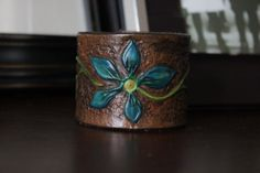 Hand Made Blue flower Leather Cuff Bracelet by LacieAlgeoDesigns