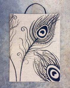 Peacock Feather Art on Burlap Canvas Easy Canvas Painting, Easy Paintings, Canvas Art, Burlap Art, Burlap Canvas, Feather Stencil, Feather Art, Peacock Painting, Peacock Art