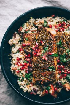 Mole Inspired Rub, Salmon, and Israeli Couscour