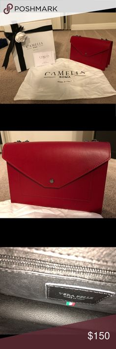 Camelia Roma Red Leather Crossbody Shoulder Bag Brand new never worn! Real leather made in Italy! In great condition and you will for sure receive many compliments! Can be worn as a crossbody or shoulder purse! This will be shipped out with the dust bag only. If you want the box shipped out with it then I will be putting tape all over it to keep it shut. Also selling in black! Check out my listings! Camelia Roma Bags Crossbody Bags
