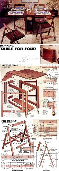 Folding Table and Chairs Set Plans - Furniture Plans and Projects | WoodArchivist.com