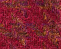 BEATRICE MOHAIR TWEED SAMPLE, 1960-1970. Double cloth twill fabric, woven in brushed space-dyed mohair and brushed mohair yarns, and worsted yarns, in red, pink, purple, orange, black and brown.