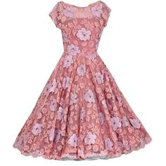 1950's Werle Pink Appliqued French Chantilly-Lace Party Dress ❤ liked on Polyvore