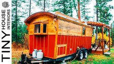 Super Cute Red Gypsy Wagon with Amazing Fire Pit and Cozy Kitchen Area Tiny Houses For Rent, Tiny House On Wheels, Homes For Veterans, Tiny House Family, Small Fridges, Front Range, Composting Toilet, Interior Work, Gypsy Wagon