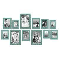 12er Bilderrahmen-Set Strandhaus Blau Rustikal Massivholz 10x15 bis 20x30 cm, inkl. Zubehör, zur Gestaltung einer Bilderwand oder Fotowand / Fotorahmen