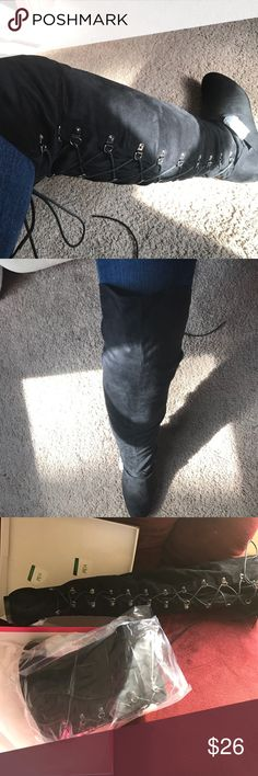 NWOT Black, Lace Up Back Faux Suede Over Knee Boot Worn only for the purpose of pictures, 2nd boot still in plastic, super soft over knee boot with Lace up back and zipper side, flat sole, size 9! JustFab Shoes Over the Knee Boots