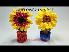Rainbow Loom Band SUNFLOWER IN A POT Adv. Charm Tutorials by Crafty Ladybug /How to DIY