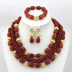 EA00143_ Brown African Beads Necklace set