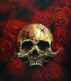 Acrylic on Canvas × Dark Background Wallpaper, Dark Backgrounds, Skull Tattoos, Black Tattoos, Private Tattoos, London Tattoo, Skeleton Art, Skulls And Roses, Skull Art