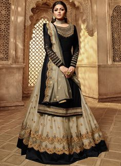 Drashti dhami black lehenga style suit online which is crafted from georgette fabric with exclusive embroidery, zari and stone work. This stunning designer lehenga style suit comes with net lehenga and net dupatta. Long Choli Lehenga, Black Lehenga, Lehenga Suit, Lehenga Style, Party Wear Lehenga, Bridal Lehenga Choli, Silk Lehenga, Anarkali Dress, Georgette Dresses