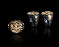 The Dragon! Oxidized Sterling and 14k yellow gold. Just for men. Just for you! Style M1.