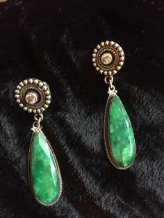 Emerald Drop Silver Earrings