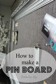 Office Redo - Pin Board of Dreams - take a old or thrifted large frame and paint. Get cork board squares, cardboard, some fabric, glue and put it all together.  Then use a nail gun or screw to wall!