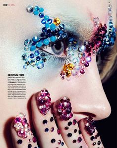 Shine, Shine, Shine–The December 2014 issue from Marie Claire Russia turns up the glam with a beauty story which focuses on jewel makeup looks and precious… Marie Claire, Jewelry Editorial, Beauty Editorial, Nail Art Designs, Rhinestone Makeup, Glitter Makeup, Jamie Nelson, Jewel Makeup, Crystal Makeup