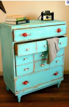 teal red and white, antique chest