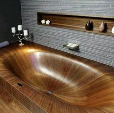 I love it cool bath tub #bathroom #bathtub #woodenbathtub    #homedecor #luxuryhomes