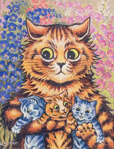 a-cat-with-her-kittens louis-wain