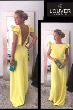Precioso vestido largo con escote en espalda en el color de la temporada AMARILLO!! Ideal para lucir bronceado en los eventos veraniegos!!