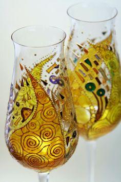 """Купить Пара фужеров для шампанского """" Климт"""" в интернет магазине на Ярмарке Мастеров"""