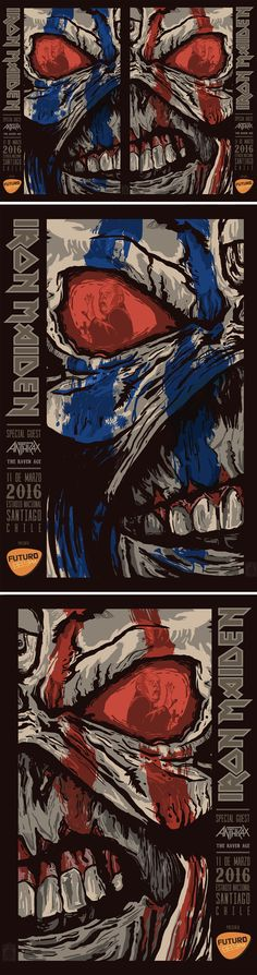 IRON MAIDEN The Book of Souls Santiago Chile Gig Poster - JOFRE CONJOTA on Behance https://www.behance.net/Jofreconjota
