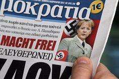 Angela Merkel mit einer Hakenkreuzbinde auf der Titelseite in Griechenand