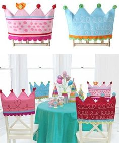 Princess Party- Do white poster board then let the kids decorate with markers, glue, glitter, pom poms and ribbon Princess Birthday, Princess Party, Girl Birthday, Birthday Parties, Princess Chair, Happy Birthday, Projects For Kids, Crafts For Kids, Birthday Chair