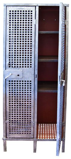 1930's Industrial Vintage Steel Lockers - painted red and on front deck to store shoes etc. awesome