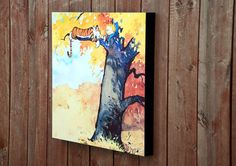 Calvin and Hobbes Autumn Tree Print Mounted by BabyRoomPrints, $60.00