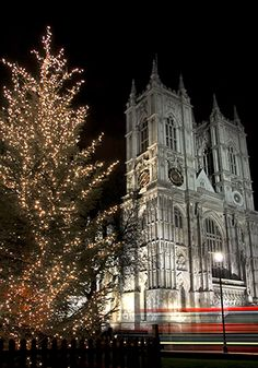 London's Westminster Abbey at Christmas