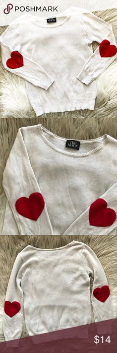 """Moon Collection Heart Elbow Patch Sweater Super cute cream colored thin knit sweater with red heart Elbow patches. Great for layering over button downs and wearing under vests! • Okay preowned condition, has thinned out from wear • Acrylic Cotton blend • Scoop Neck, long sleeve • Approx. measurements when laid flat: 16"""" bust, 20"""" length, 22"""" sleeve Moon Collection Sweaters Crew & Scoop Necks"""