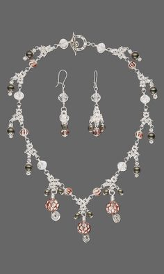 Jewelry Design - Single-Strand Necklace and Earring Set with Czech Glass Druk Beads, Chainmaille and Red and Clear Hand-Painted Glass Beads - Fire Mountain Gems and Beads