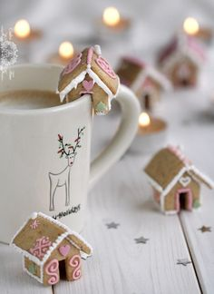 Pretty sure these are the cutest things ever. Mini little gingerbread house. cute for little kids and hot chocolate.