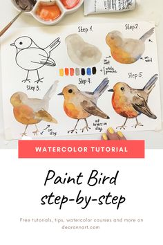Learn Watercolor Step By Step: Paint a bird In this watercolor tutorial, you will learn how to paint a bird with watercolor. Click the image or link above to see the full art tutorial. Watercolor Beginner, Watercolor Paintings For Beginners, Step By Step Watercolor, Watercolor Art Lessons, Watercolor Techniques, Beginner Painting, Painting Lessons, Painting Tips, Watercolor Pencil Art