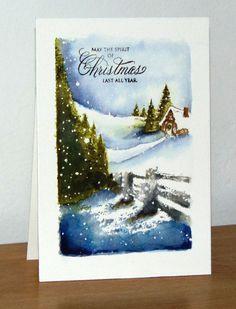 Hidden lane, Christmas Cottage: PB, watercolor, winter