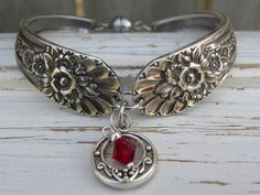 Spoon handle bracelet - viking charm - red crystal bead - silver vinta - Whispering Metalworks