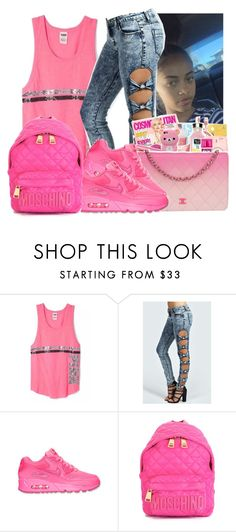 """""""Untitled #912"""" by chynaloggins ❤ liked on Polyvore featuring Victoria's Secret, Boohoo, NIKE, Moschino, women's clothing, women, female, woman, misses and juniors"""