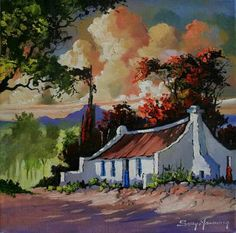 By Solly Manthata Landscape Art, Landscape Paintings, Landscapes, Farmhouse Paintings, Human Anatomy Drawing, Artistic Tile, South African Artists, Sketch Painting, Naive Art