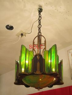 Simply incredible lamp at my friend's antique store in Ellicott City, MD. Might have to buy it.if I fall into a bucket of twenties. Art Deco Wall Lights, Ceiling Lights, Stained Glass Chandelier, Art And Craft Design, Cool Lamps, 1920s Art Deco, Art Deco Furniture, Antique Lamps, Antique Stores