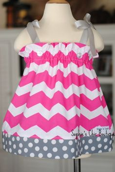 Hot Pink Chevron and Gray Polka Dot Boutique Dress