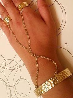 Hammered Gold Bangle Handchain